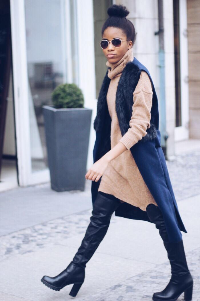 blaue Weste kombinieren, rollkragenpullover braun, Overknees in schwarz, Sonnenbrille 2016, fashion blog berlin, fashionblogger Deutschland