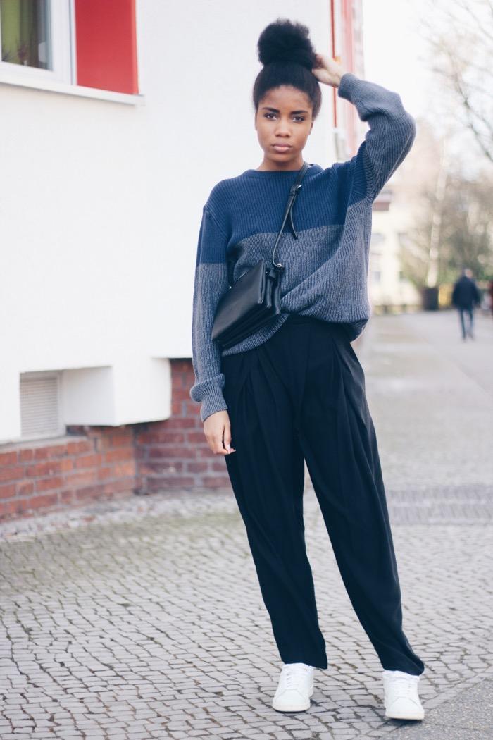 schwarze hose kombinieren outfit 1 denim shirt. Black Bedroom Furniture Sets. Home Design Ideas