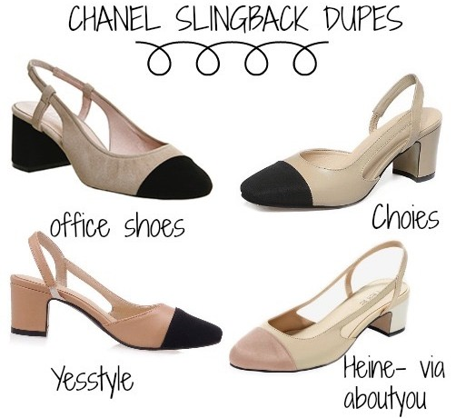 Chanel Slingback dupes, Chanel Slingback look a likes