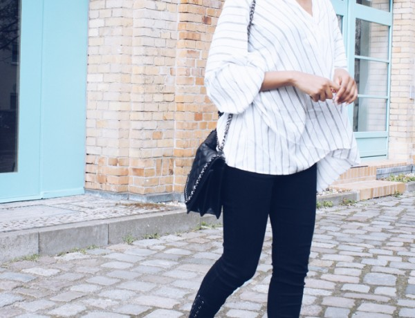 Chanel slingback, Streifenhemd, Fashionblhgger Deutschland, Modeblog Berlin, Chanelboy bag, berlin streetstyle, schwarze Skinny jeans