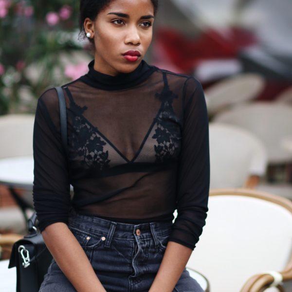 Fashionblog Berlin, Influencer Germany, Spitzen BH, Bronzingeyes, rote Lippen dunkle Haut