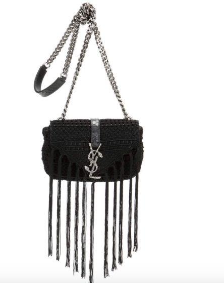 SAINT LAURENT Classic Baby Monogram leather and crochet shoulder bag